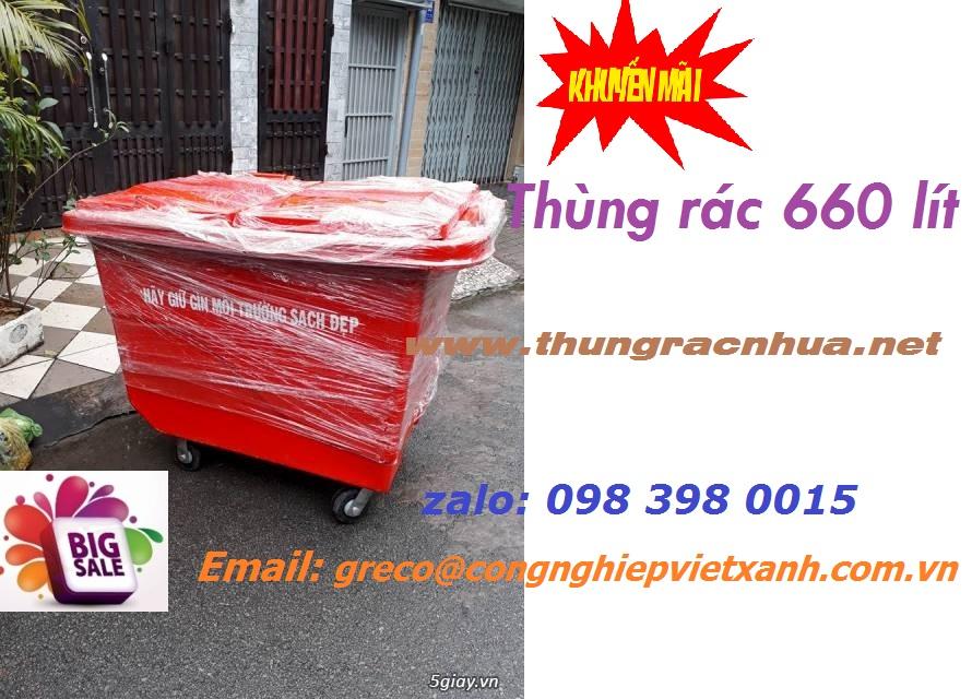 thùng rác nhựa 660 lít composite