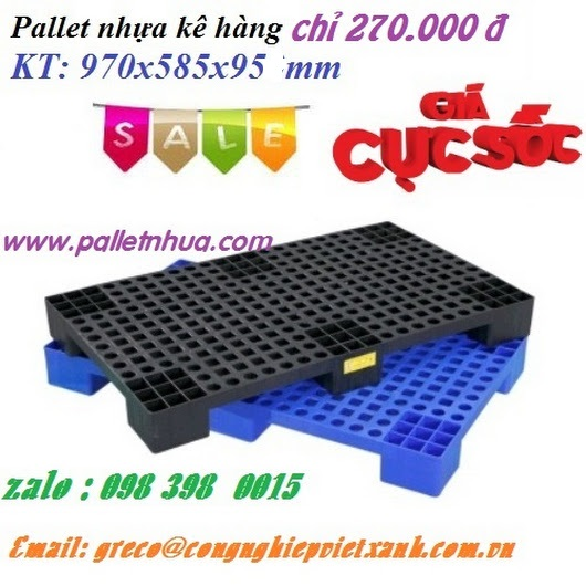 Pallet nhựa  kích thước 1000 x 600 x 100mm mặt bông 6 chân