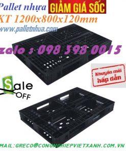 pallet nhựa đen 1200x800x120 mm
