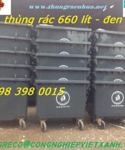Thùng rác nhựa 660 lít màu đen